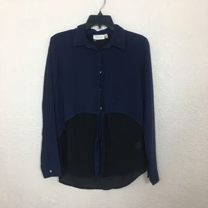 Blue and black button down blouse